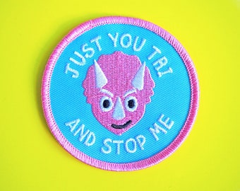 Dinosaur Patches Iron On, Dino Patch, Triceratops Patch, Patches for Denim Jackets, Feminist Iron on patch