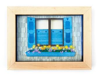 "Framed Cut Paper Illustration ""Weathered Windows"" (5x7"")"