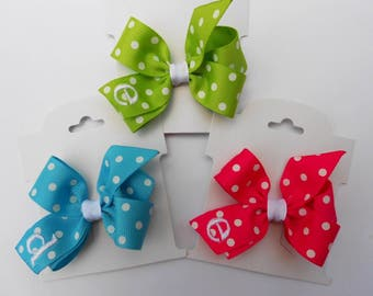 Teeny Infant Initial, Hair Bows, Set of 3, Monogram Clips, Hairbows Toddler Baby Personalized, Easter Spring, Monogrammed Gift Bows Girls