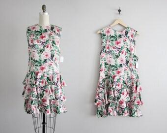 floral silk dress / floral dress / drop waist dress