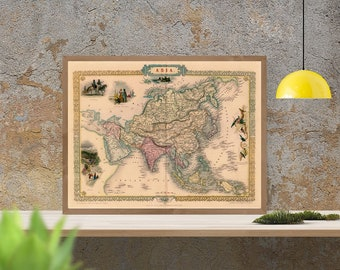 Old map of asia etsy antique map of asia 1615 old map of asia antique decor fine gumiabroncs Gallery