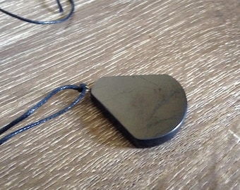 Handmade Leather & Shungite Pear Necklace