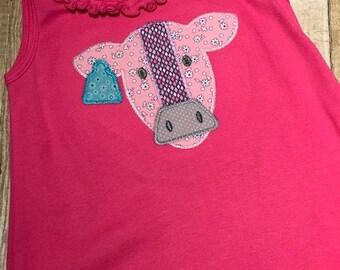 Cow dress, girls dress, tank dress, summer dress, applique dress, farm girl dress