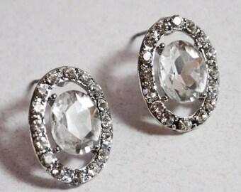 SALE vintage Rhinestone Stud Earrings, Post Earrings, Crystal Stud Earrings, Wedding Earrings, Bridal Earrings, Bridesmaid Gifts