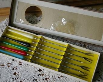 Retro Fondue Forks 6 piece boxed set