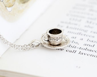 Silver Tea Cup Necklace - Alice in Wonderland - Gift For Tea Lover - Gift For Mom - Tea Cup Charm Necklace - Girlfriend Gift - Gift For Her