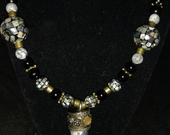 Abalone and Larvikite Pendant Necklace