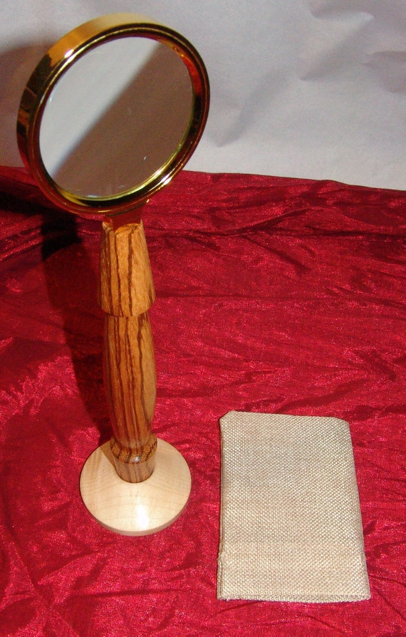 Standing Desk Magnifying Glass – Vintage Look – Birch and Zebrawood - 09-18 – FREE SHIPPING!!