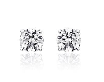 0.75 Carat Round Brilliant Cut Diamond Solitaire Stud Earrings 14K White Gold