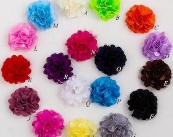 "2"" Mini Satin Mesh Hair Flower For Heads Hair Accessories Artificial Fabric Flowers For Headbands"