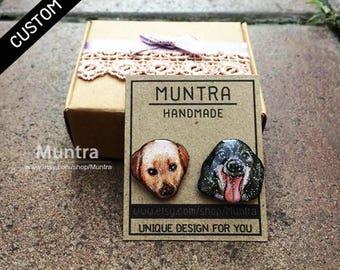 CUSTOM HAND PAINTED Dog Earrings - Custom Pet Stud Earrings Custom Resin Jewelry Dog Cat Animal Earrings Custom Personalized Pet Earrings