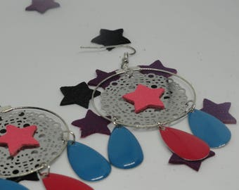 Earrings dream catcher effect, sequins and star drops