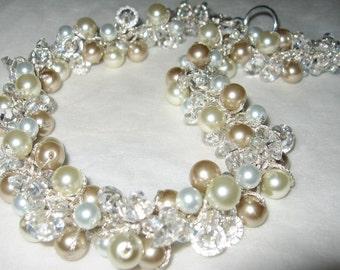 Pearl Crystal Bridal Wedding Statement Necklace, SPARKLING CHAMPAGNE ICE, Classic Elegant Hand Knit, Unique Original, Sereba Designs, Etsy