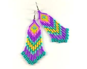 Statement Jewelry Beaded hippie earrings Bohemian seed bead jewelry Long fringe dangle colorful earrings Purple turquoise earrings Fun boho