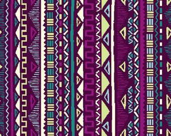 Fabric purple Mayan, Mexican, Aztec, stripes, 1/2 meter