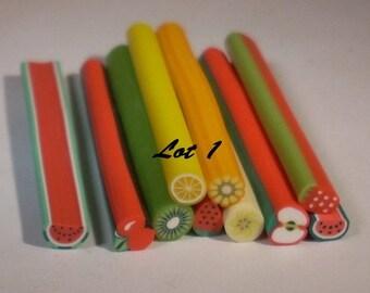 Set of 10 canes polymer fruit 50mm
