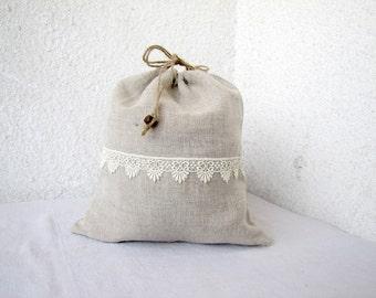Linen and lace Drawstring bag gift bag reusable eco friendly
