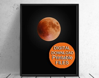 Printable Art,  Blood Moon Photograph, Halloween Art Print 5x7 8x10 11x14 A4 A3