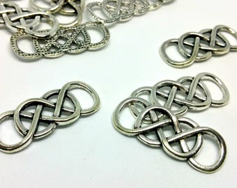 x 1 charm / connector - Celtic knot - silver - jewelry customization