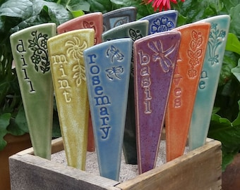 3 Herb Plant Markers - Herb Garden Stakes - A set of 3 pottery garden markers - READY TO SHIP