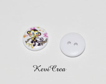 5 x 15mm monkey wooden white buttons