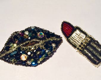 Mouth red lips, embroidered with beads, brooch