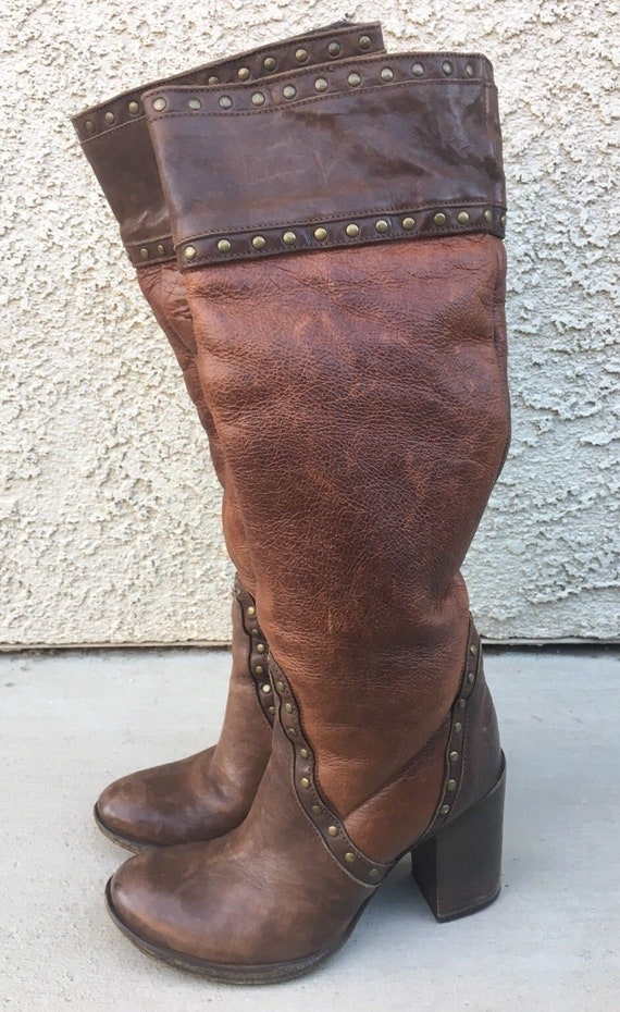 One Italian Leather Sz Boots Brown 70's Rocknroll Italian Boots Vng 5 Lined Made Platform platform Fur Sole Stacked Frye Slip 70's 4xq80xzw