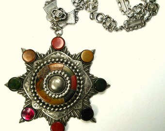 Medieval Silver Chain Necklace of Ornate Metalwork Links & Mosaic Stone Inlaid BLAZING Star Pendant, Renaissance Double Iron Cross