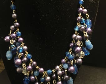 Vintage Multi bead necklace with japan stamp