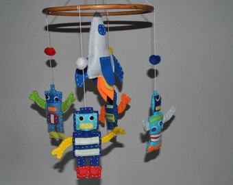Robot baby mobile - bright colours - felt rockets and robots - nursery mobile - pick your colours - made to order - crib mobile