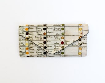 Handmade Trifold Wallet - Vintage Watercolor Chart - Billfold Canvas Wallet Vegan Heavy Duty Clutch - Antique Color Chart - Gifts for Women