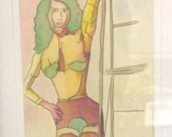 Robot Woman watercolour by Jenna Mariash