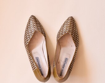 Vintage Pointed Toe Pumps Size 6 8 39, Khaki Silver Woven Heels Pumps, Silver Shimmering Court Shoes, Woven Party Courts, 80s Leather Shoes
