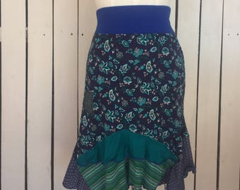 Upcycled blue floral skirt-denim patch-knit skirt-mixed prints- urban gypsy boho chic-romantic hippie skirt Sz M- 75rabbitDesigns