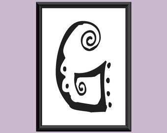 Typography Digital Print Monogram Initial Wall Art SpaGirl Letter G