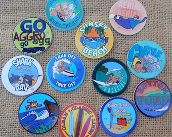 12 Surfer POGS  ~  Surfing POGS  ~  Numbered Surfing POGS