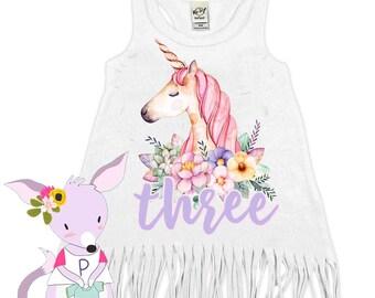 Unicorn Birthday Dress Unicorn Fringe Party Dress Custom Age Party Dress Unicorn Birthday Party Unicorn Girls Birthday Dress Any Age 1 2 3 4