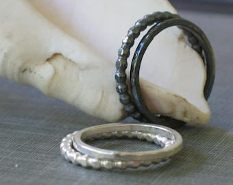 Sterling Silver Stacking Rings- set of 2 bands- rustic ring set, thin silver ring set, oxidized ring set, everyday rings, dainty ring set