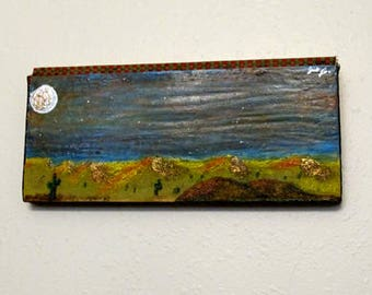 Moonlit Desert - A painting on a piece of recycled wall or floor tongue and groove