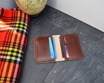 Personalised handmade leather card wallet / card holder