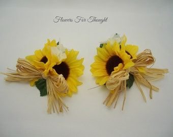 Sunflower Corsage with Straw Bow, Bridal Party Flowers for Wrist or Pin, Wedding Accessory, 1 corsage made to order