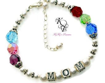 Mothers Bracelet Birthstone Jewelry Name Bracelet Mothers Jewelry Mothers Day Gift Birthstone Jewelry Gift for Mom Grandmother Bracelet