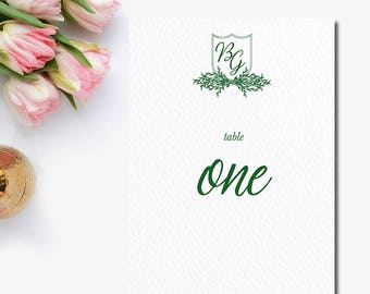Crest Table Number - Monogram Crest Table Number - Garden Wedding Reception Stationery - Party Supplies - Weddings