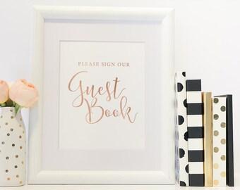 Wedding Guest Book Sign, Guest Book Sign Printable, Wedding Sign, DIY Wedding Sign, Wedding Sign Template, Rose Gold Foil, Instant Download