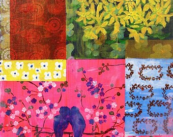 PRINT of Original on Canvas in gorgeous pink, yellow, blue and green painting
