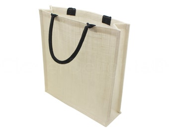 "4 Pack - Large White Burlap Shopping Bag - 16"" x 14"" x 4"" - Soft Cotton Webbed Handles - Laminated Inner Lining - Premium Tote Book Bag Sack"