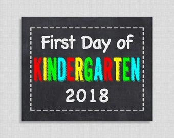First Day of Kindergarten School Sign, Color Chalkboard Style School Sign, First Day of School Sign, 8x10 inch, INSTANT PRINTABLE
