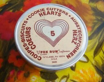 Heart Cookie Cutter Set of 5 Cutters 1980 - Metal