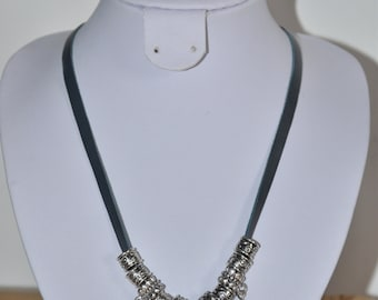 Navy blue leather necklace with beads transparent charm