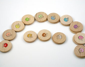 Wooden matching game, Montessori material, memory game, concentration game, learning toy, Waldorf toy, donut game, wooden toy, travel toy